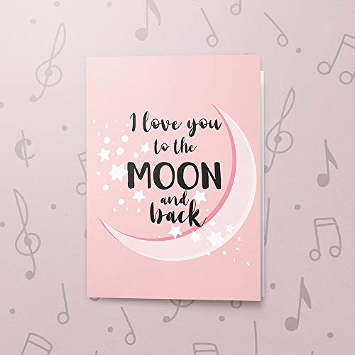 Sweet Musical Greeting Card | Singing Valentines Day Card, Recordable Love Card, Talking Greeting Card, I Love You To The Moon And Back 00260 (120 Second Recordable)