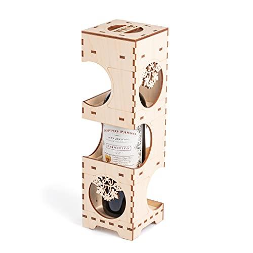 Caja de regalo para botellas de vino (madera, para 3 botellas)