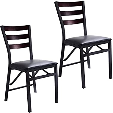 Giantex Set of 2 Wood Folding Chair Dining Chairs Home Restaurant Furniture Portable (15.6  X 17.7  X 33.5 )