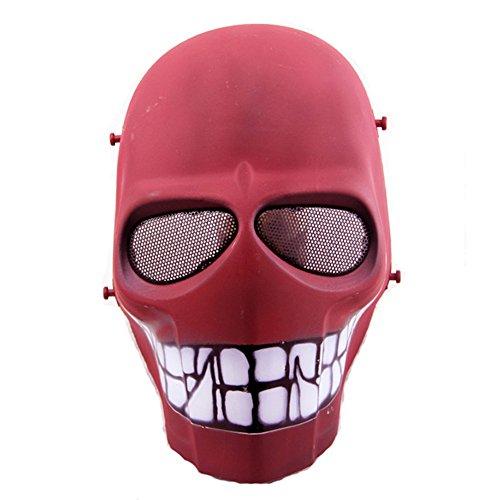 Worldshopping4U–Ganzgesichts-Schutzmaske für Airsoft, Paintball, Cosplay, Hockey, Halloween, als Kostüm, Schwarz/lächelnd/Kreuz/Totenkopf, Red Smile