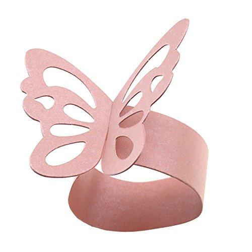 OTOTEC 50 x rosa Serviettenhalter Schmetterling Ring Papierhalter Tischparty Brautdekoration