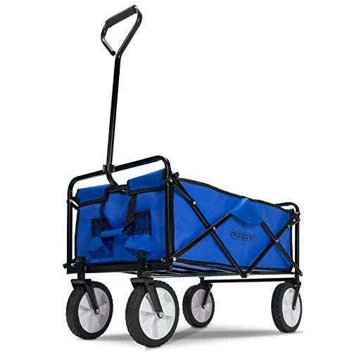 Deuba Bollerwagen faltbar bis 100kg 360° Vollgummireifen 2 Getränkehalter Handwagen Gartenwagen Transportwagen Strandwagen blau