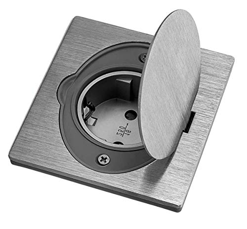 ASLO Steckdose gebürstetes Aluminium ASFAMA - Bodensteckdose, Wandsteckdose IP44 spritzwassergeschützt SET + Gerätedose - Hohlwand-Gerätedose