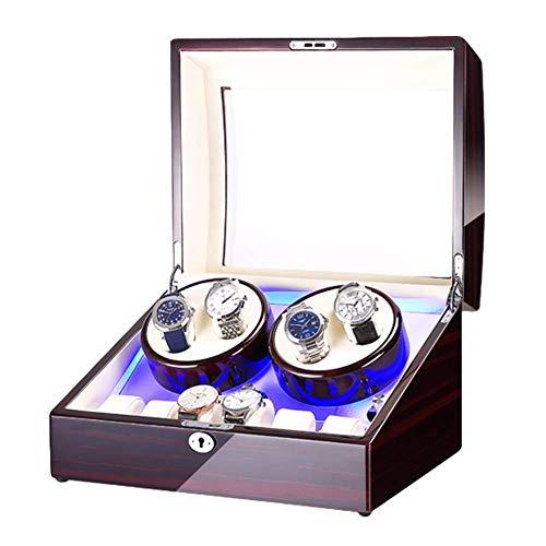 AMAFS Caja de reloj para 4 relojes automáticos + 6 espacio de almacenamiento con luz LED azul con acabado de pintura de piano de doble fuente de alimentación festival
