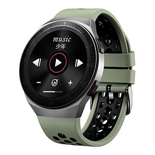 YDL Musik Smart Uhr Männer Bluetooth Call Volle Touch Screen wasserdichte Smartwatch Aufnahmefunktion Sport Armband (Color : Green)
