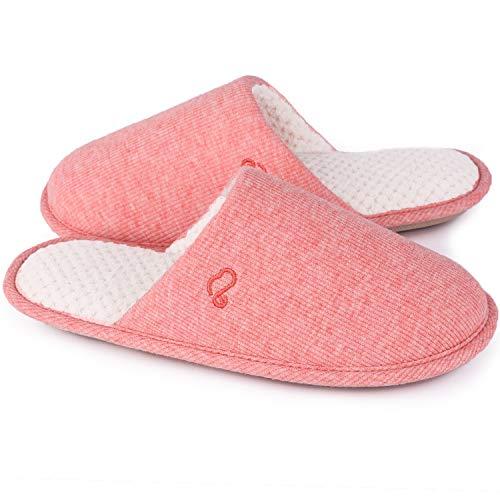 EverFoams Damen Klassische Memory Foam Hausschuhe, Atmungsaktive Frottee Pantoffeln, 42-43 EU, Rosa