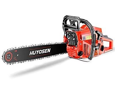 HUYOSEN Gas Power Chain Saws Red Black Corded Gas Chainsaw 60CC 2 Cycle Chainsaw Gas Guide bar Size 18 inchs 0.325inchs 72DL Chain Guide Bar 6020E