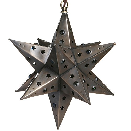 12 Inch Moravian Hanging Tin Star Light - Star Cut with...