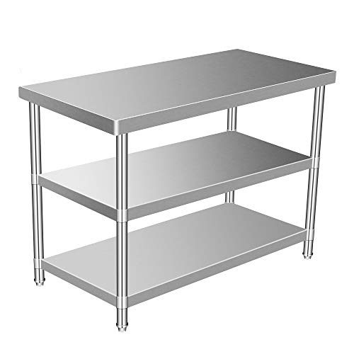 Stainless Steel Commercial Kitchen Prep & Work Table, Metal Utility Table for Multiple Application (24' x 36' Three Shelves)