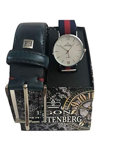 Egon Furstenberg Box Cintura Blu+Orologio Blu-rosso uomo