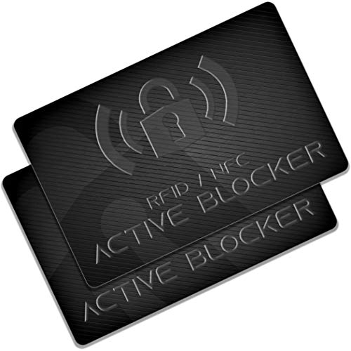 RFID Blocker Karte 2er Set - GranHin Active Blocker - NFC Störsender - E-Field Technologie 2020 - Schutzkarte für Geldbörse, Kreditkarte, EC, Bankkarte, Ausweis - Schutzhüllen unnötig - 2 Stück