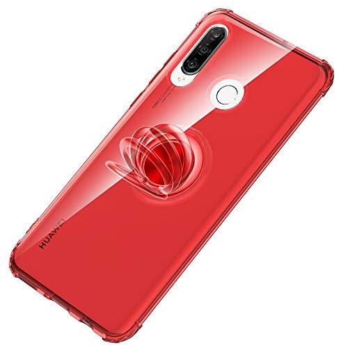 SORAKA Funda Transparente para Huawei P30 Lite con Soporte de Anillo emergente Slim Fit Funda TPU Transparente Suave con Placa Metal para Soporte para teléfono Coche magnético