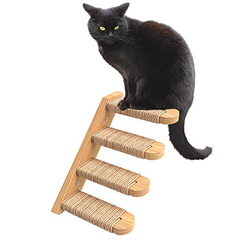 Skywin Cat Steps - Solid Rubber Wood Cat Wall Stairs Great for Scratching and Climbing - Easy to Install Wall Mounted Cat Wall Shelves for Playful Cats (Wood, Left-Right)