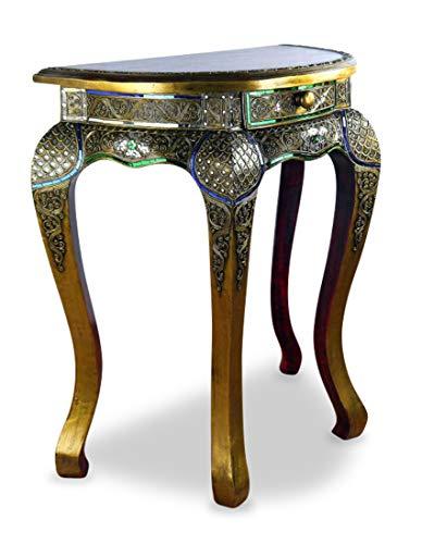 livasia Halbrunder Opiumtisch im Glasmosaik Design, mit Schublade, Beistelltisch, Konsolentisch, Anrichte