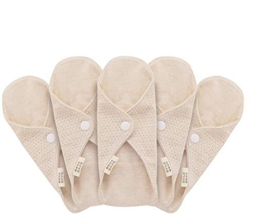 MQUPIN Wiederverwendbare Damenbinden aus Bio-Baumwolle, waschbare Slipeinlagen, auslaufsicheres Design, geeignet für alle Frauen
