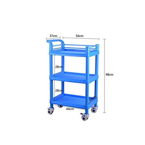 Carrelli Tre Strati Trattamento Medico Bellezza, Multifunzione Clinica ospedaliera Rimovibile, Rosa/Blu, carico di 100 kg (Colore : Blu, Dimensioni : 64.5 * 44.5 * 98cm)