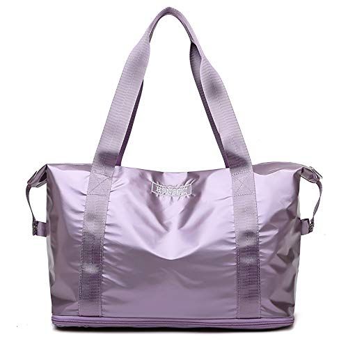 Eco Memos Sports Bag with Wet Pocket Travel Bag with Expandable Space for Women, Waterproof Duffel Bags Enjoy Easy Travel (Purple)