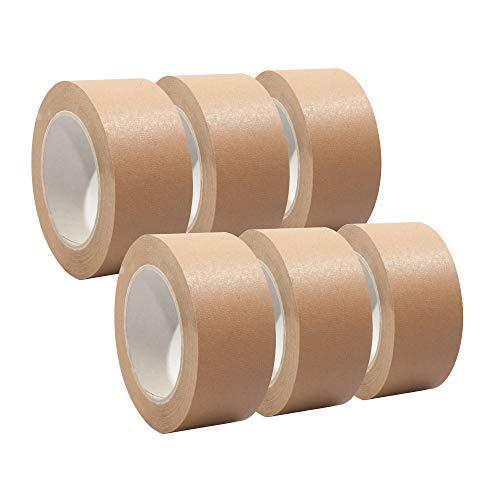 Papierklebeband | Papierpackband | Papierband | Papier Klebeband | Ökologisch & nachhaltig, 50mm x 50m, braun, Menge:6