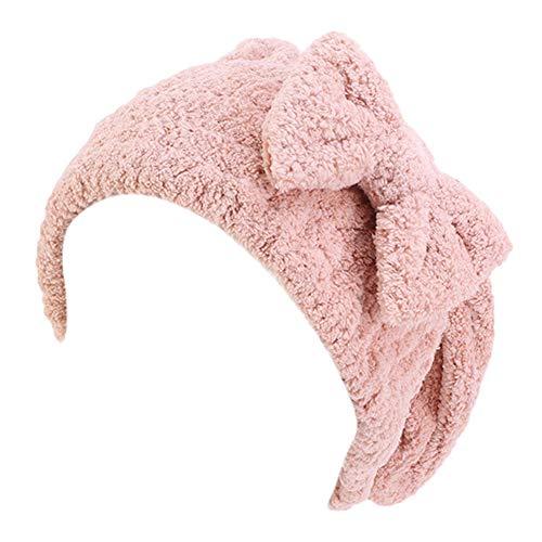 TININNA Serviette Cheveux Turban Bonnet de Bain Bonnet de Douche Chapeau de Cheveux Secs Spa Chapeau de Bain Microfibre Mignonne Bowknot Élastique Épaissi Chapeau de Soins Capillaires,Rose Coquille