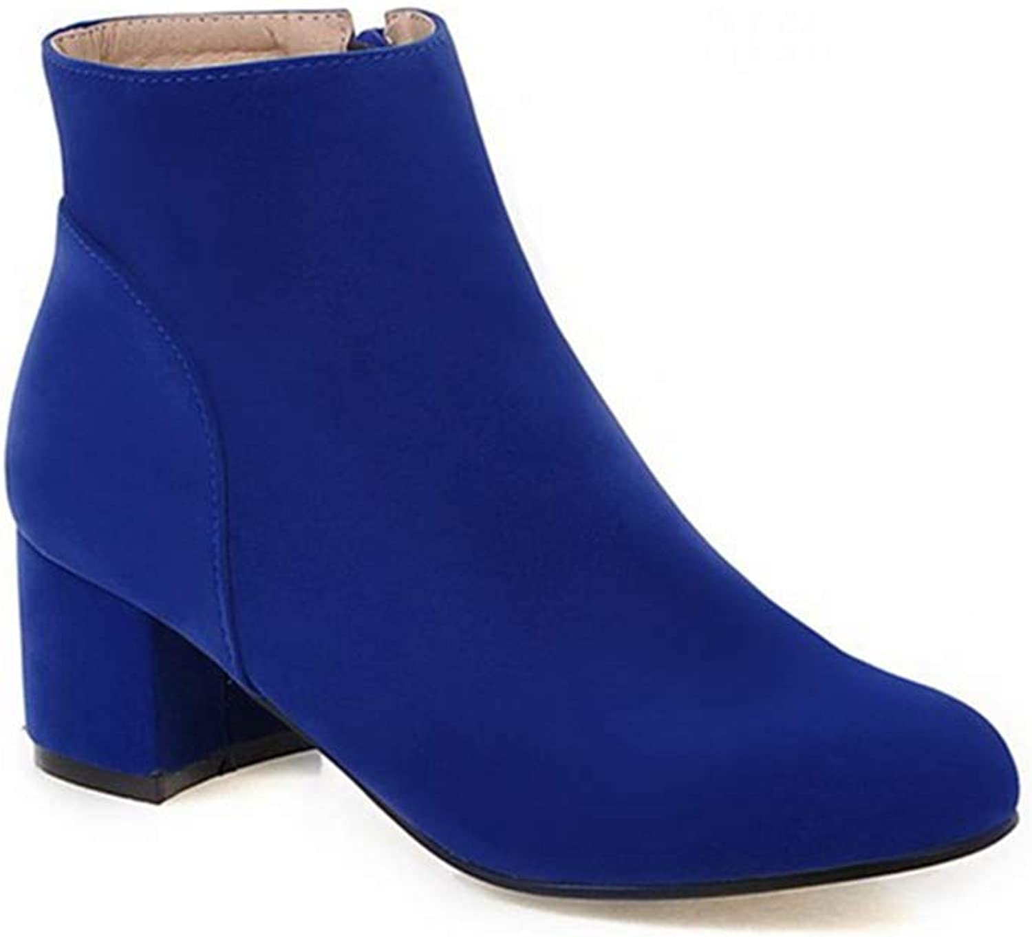 GIY Women's Pointed Toe Suede Dress Ankle Boots Chunky Mid Heel Zipper Bootie Comfy Fall Winter Short Boot