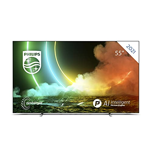 Philips 55OLED706 4K UHD OLED Android TV, 55 Inch 4K Smart TV with Ambilight, Vibrant HDR Picture, Cinematic Dolby Vision & Atmos Sound, Compatible with Google Assistance + Alexa, Metal Bezel Frame