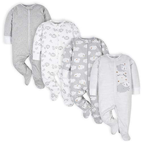 Gerber Pack de 4 pies Unisex para bebé Sleep 'N Play Footie, Oveja Gris, 3-6 Meses