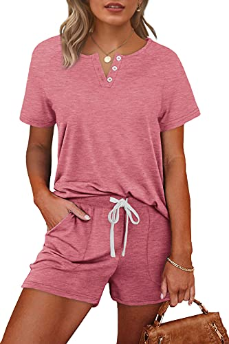Rompers for Women Casual Summer 2 Piece Outfits with Pockets Plus Size Pink 2X