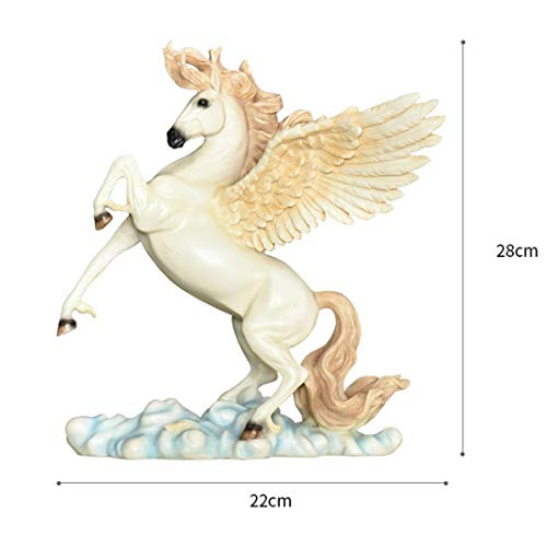 Price comparison product image European Creative Wings Lucky Horse Art Sculpture Animal Figurine Resin Crafts Desktop Decorations for Home