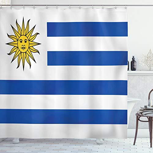ABAKUHAUS Uruguay Cortina de Baño, Rayas Simples y Bandera del Sol, Material Resistente al Agua Durable Estampa Digital, 175 x 240 cm, Cobalto Azul Blanco