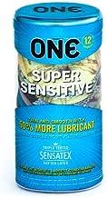 ONE Super Sensitive with Silver Lunamax Pocket Case, Premium Lubricated Latex Condoms-12 Count