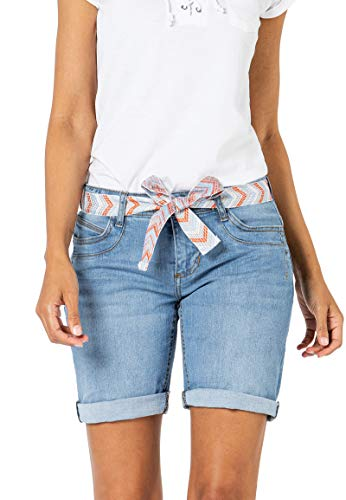 Sublevel Damen Jeans Bermuda-Shorts mit Gürtel Ring Denim Light-Blue S