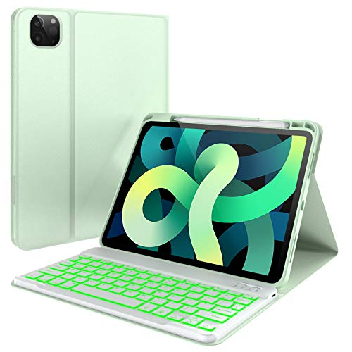 YEKBEE iPad Air 4 Keyboard Case (2020, 10.9-inch) & Pencil Charging Holder - 7 Color Backlit Keyboard - Slim Folio Smart Cover for iPad Pro 11 2020, iPad Air 4 Gen (Green)