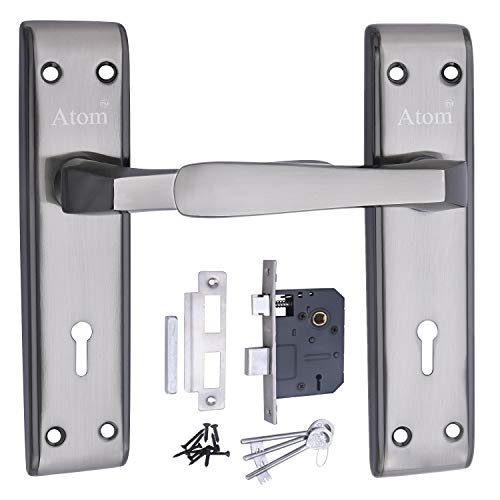 ATOM Door Handle Set With Double Stage Lock 3 Keys - Black Silver Finish
