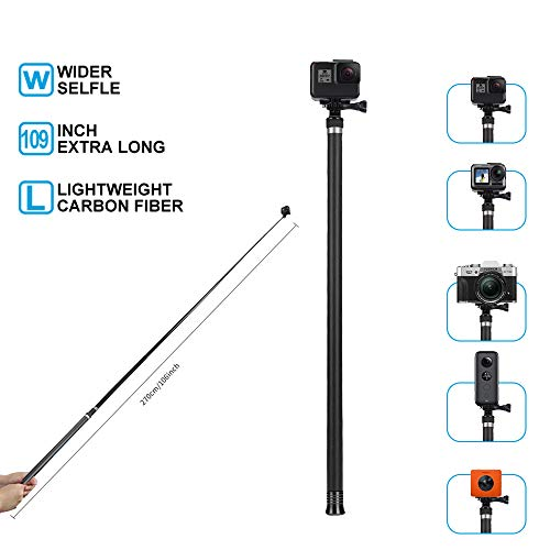 TELESIN Ultra Long Selfie Stick for GoPro Hero 7 Hero 6 Hero 5 Black (2018), Hero 4 3+ Session, DJI OSMO ACTION Camera, Extendable at 3 Lengths 22' 47.2' 106' Carbon Fiber Lightweight Pole Monopod