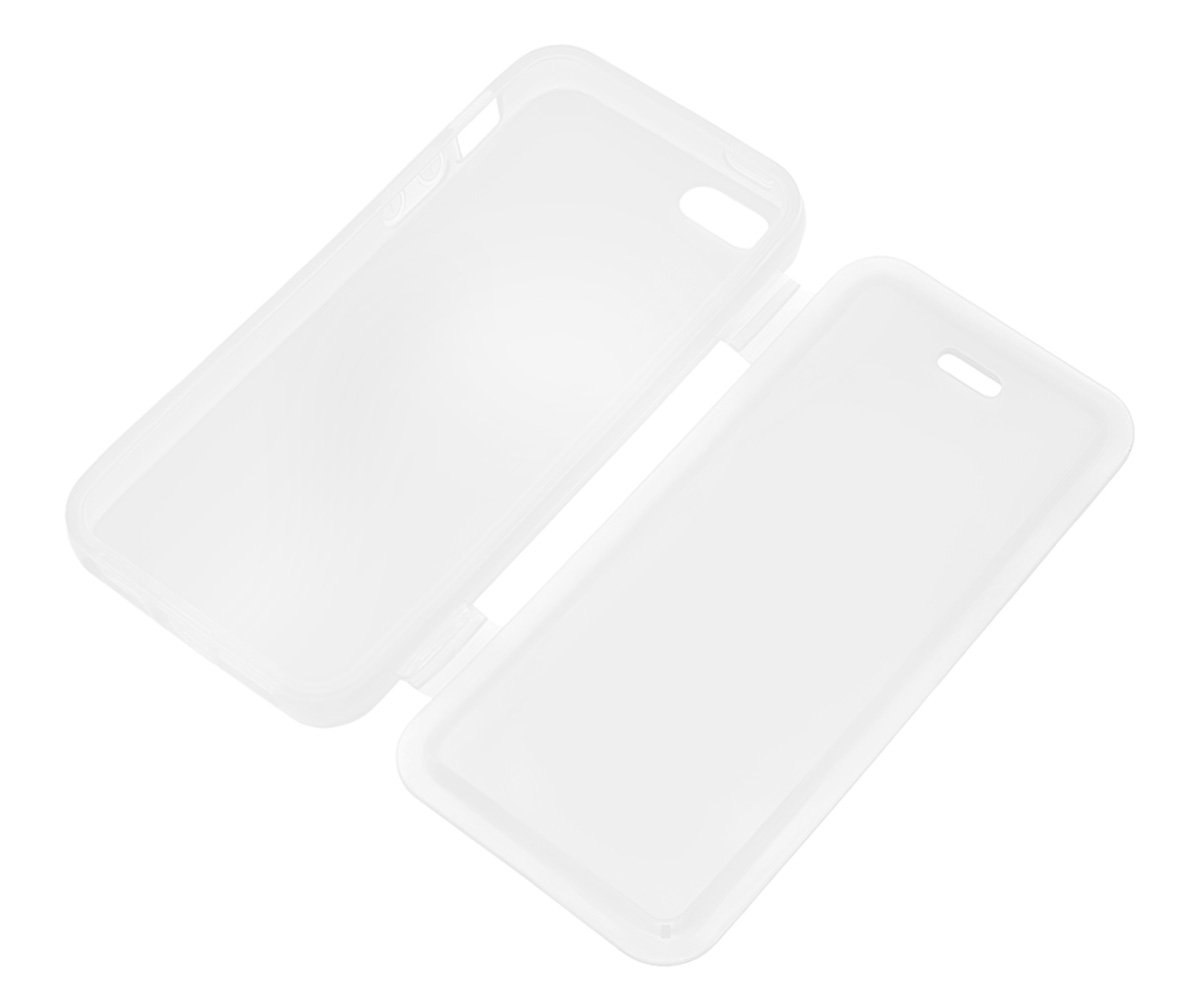 Xcessor Flip Open TPU Gel Case for Apple iPhone SE 5S Back and Front Protection Grey//Transparent 5