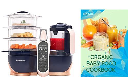 BabyMoov Duo Meal Station XL | Procesador de alimentos 6 en 1 con vapor, licuadora multivelocidad, calentador, descongelador y esterilizador (aprobado por nutricionista), color rosa con libro de cocina orgánico HogoR