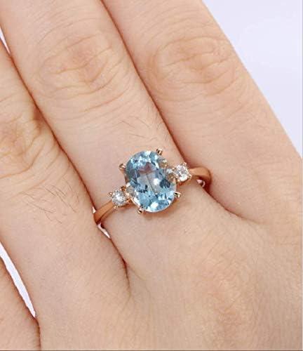Duan Fashion Jewelry 14k Gold Filled Natural Aquamarine Crystal Ring Blue Topaz Natural Gemstone product image