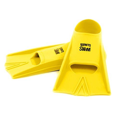 BornToSwim Erwachsene Schwimmflossen Kurze Trainingsflossen Aus Silikon, Neon Gelb, 36-38
