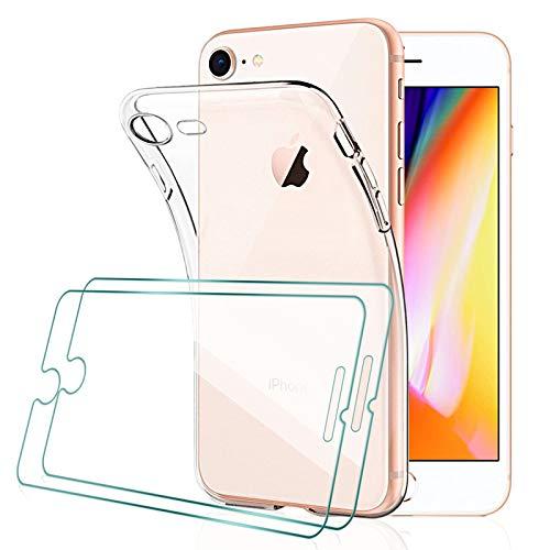 [2 Pcs] KEEPXYZ Proteggi Schermo per iPhone 7, iPhone 8 Vetro Temperato + Cover per iPhone 7, iPhone 8 Silicone Trasparente, Custodia Antiurto Bumper TPU + Vetro Temperato per iPhone 7, iPhone 8