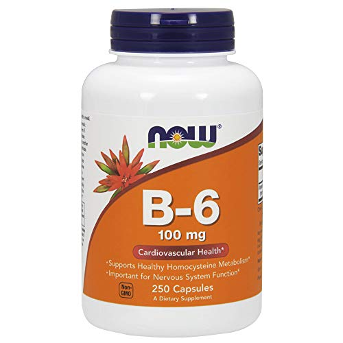 NOW Vitamin B-6 100mg,250 Capsules  (Pack of 2)