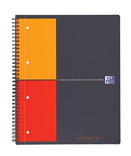 OXFORD 100104329 Activebook International DIN A4 kariert mit versetzbarem Register und Dokumententasche