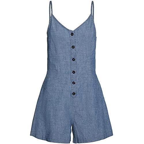 Vero Moda VMAKELA SL Chambray Strap Playsuit GA Mono Largo, Medio De Mezclilla Azul, S para Mujer