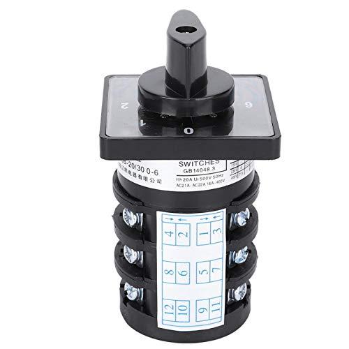 Interruptor selector de cambio Aramox, 500 V 20 A, 7 posiciones, 12 terminales, tipo de bloqueo, interruptor de control de cambio de levas 0-1-2-3-4-5-6