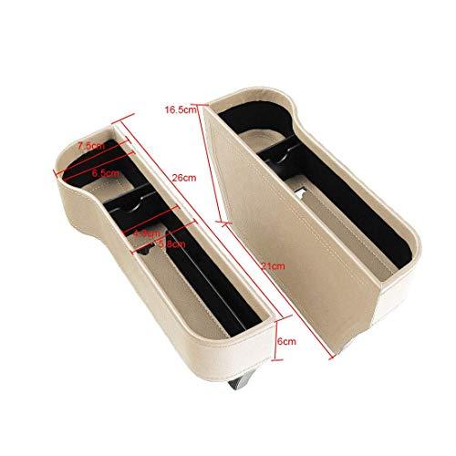 Cxjff 2 Pack Side Pocket-Organizer - Auto-Sitz Filler Gap Raumkonsole Aufbewahrungsbox Flaschenbecherhalter Münzsammler mit Loch for USB-Kabel, Auto-Innenraum Zubehör (Kunststoff schwarz)