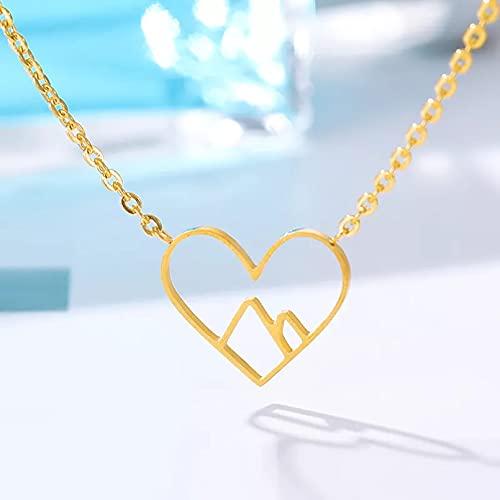 Colgante de collar Collar de montaña nevado minimalista de corazón delicado a la moda para mujer cadena de acero inoxidable de color dorado colgantes collares regalos de joyería Regalo para ella