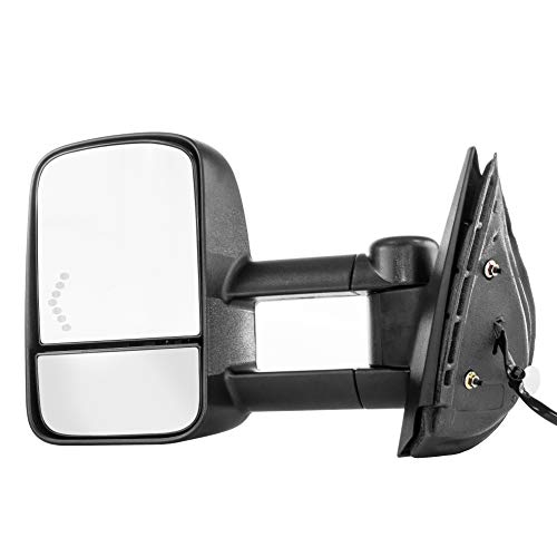 Left Driver Side Towing Mirror for 2007-2013 Chevy Silverado 1500 Textured Telescopic Folding Heated Left Door Mirror with Signal Light - GM1320354