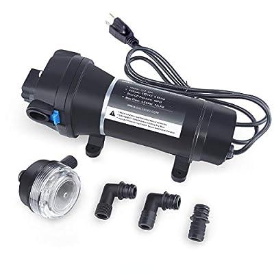 BACOENG 12V/110V Water Pressure Diaphragm Pump 4.5GPM 17L/min 40Psi Caravan/RV/Boat/Marine