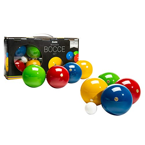 Franklin Sports 90mm Bocce Ball Set — 8 Wooden Bocce Balls and 1 Pallino — Beach, Backyard Lawn or Outdoor Party Game - Made in Italy