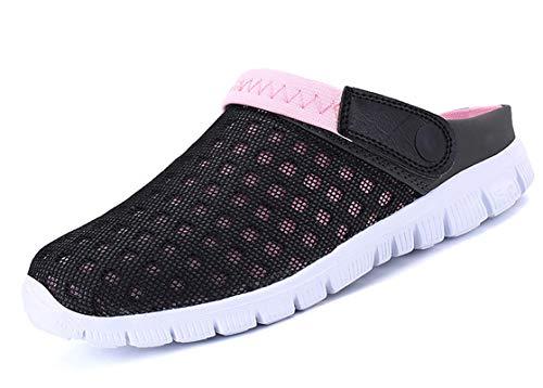 CELANDA Zuecos Unisex Zapatillas de Playa Hombres Mujeres Mules Zapatos de Jardín Antideslizante Respirable Zapatillas De Verano Negro Rosa Talla: 39 EU