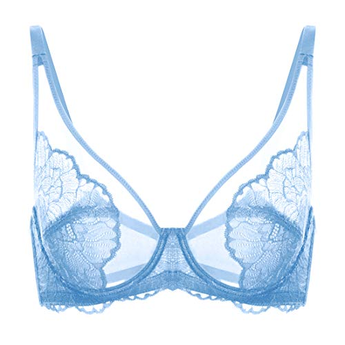 HSIA Women's Minimizer Bra Unlined Underwire Full Figure Lace Bra Plus Size Full Coverage Unpadded Bra 34C-44DDD Storm Blue